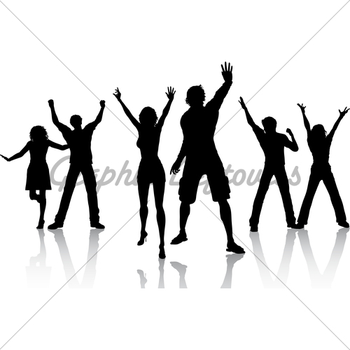 500x500 Silhouettes Of People Dancing Clipart Panda
