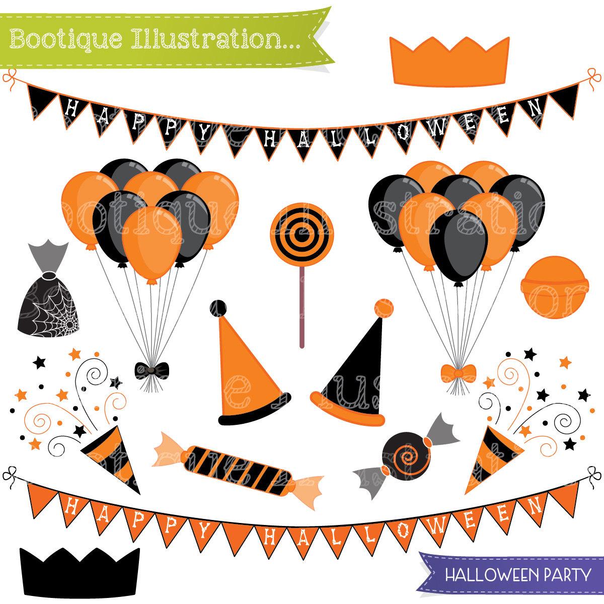 1200x1200 Hallowen Party Clipart Set. Halloween Clipart. Ballooons Clip Art