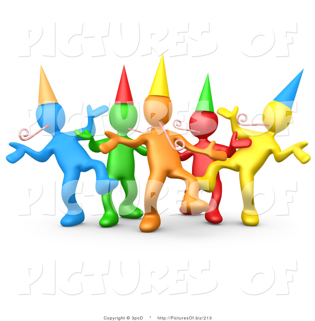 1024x1044 Vector Clipart Of Colorful 3d Party People Dancing By 3pod
