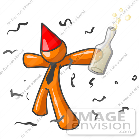 450x450 Clip Art Graphic Of An Orange Guy Character In A Red Party Hat