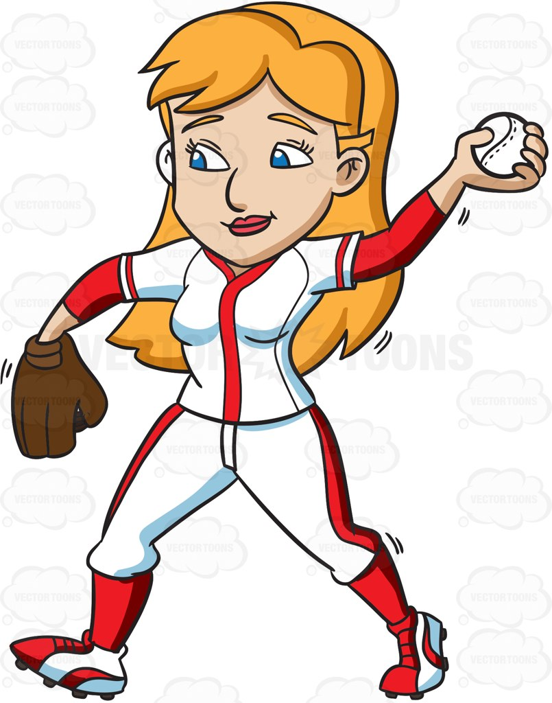 805x1024 A Female Baseball Player Pass Throws A Ball Cartoon Clipart