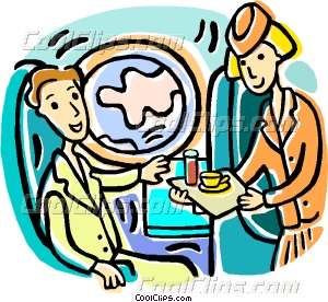 300x276 Serving Refreshments To Passenger Vector Clip Art