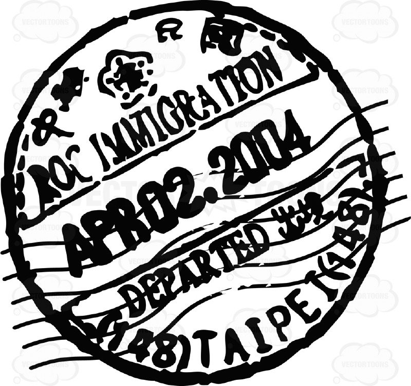 800x753 Rubber Black And White Circle Passport Stamp Cartoon Clipart