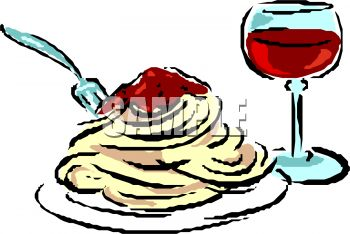 350x234 Plate Of Spaghetti And Wine