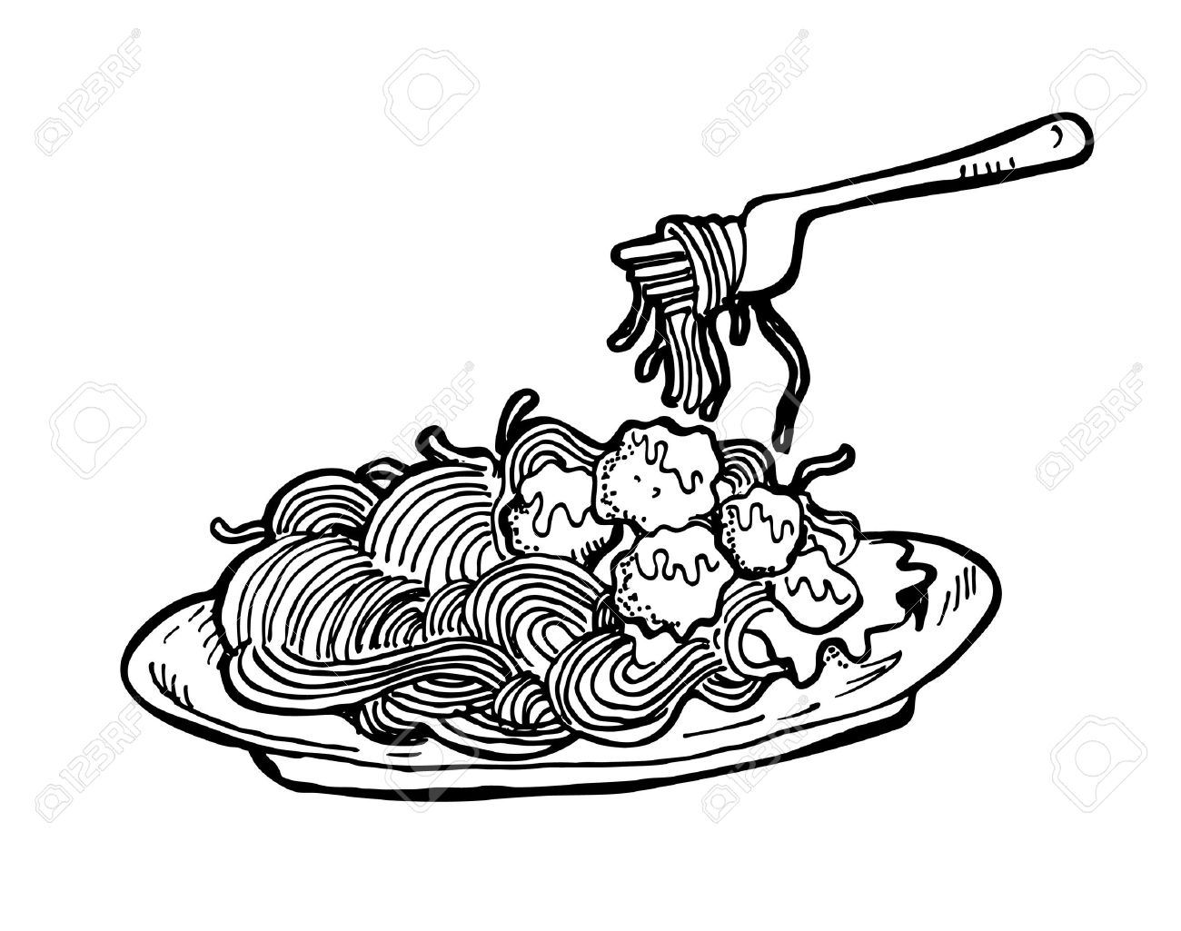 1300x1025 Noodle Clipart Black And White