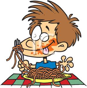 297x300 Image A Messy Kid Eating Spaghetti