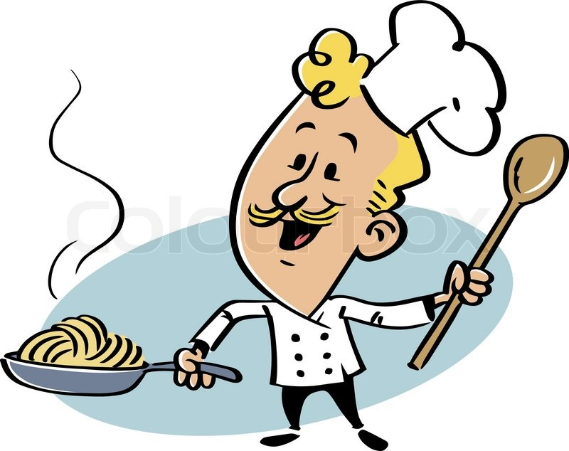 800x634 Smiling Chef With A Skillet With Spaghetti Stock Vector Colourbox