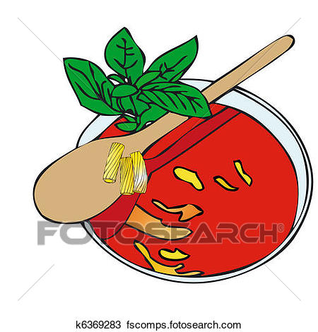 450x470 Drawing Of Pasta With Tomato Sauce And Basil K6369283
