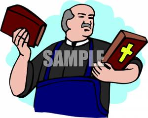 300x239 Free Clipart Image A Pastor Holding His Bible
