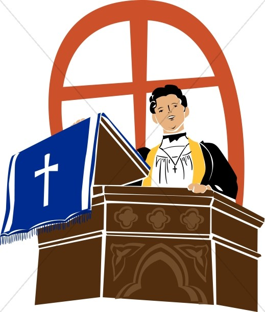 519x612 Monk With Open Bible Clergy Clipart