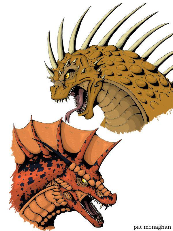 600x800 Pat Monaghan's Drawing Of Varan And Titanosaurus Daikaiju