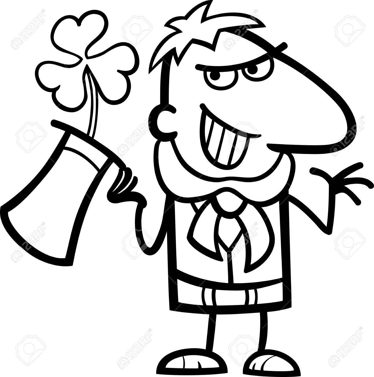 1292x1300 Black And White Cartoon Illustration Of Happy Leprechaun