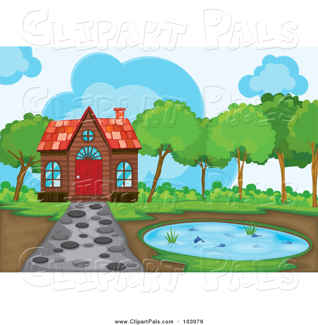 1024x1044 Pal Clipart Of A Cabin And Pond With A Stone Path By Graphics Rf