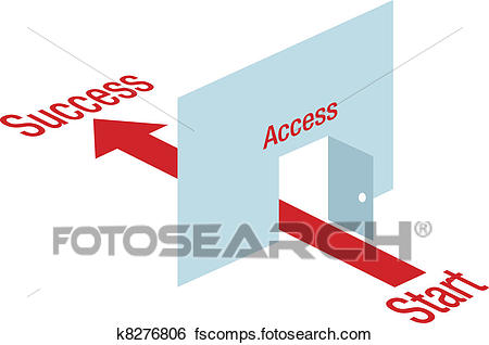 450x318 Clip Art Of Access Path Arrow Through Door Way To Success K8276806