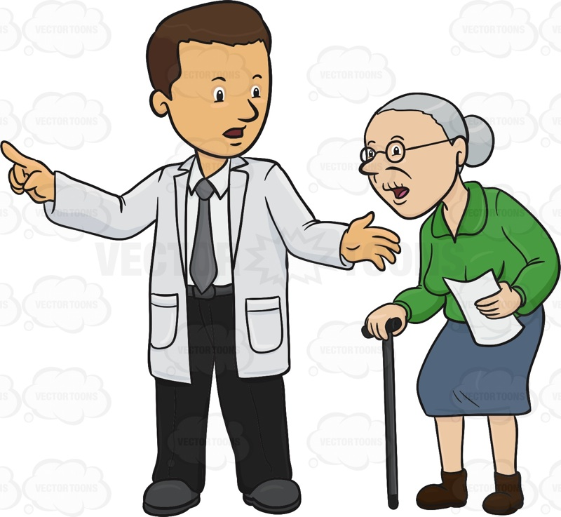 800x737 Doctor Is Pointing An Elderly Woman In The Right Direction Cartoon