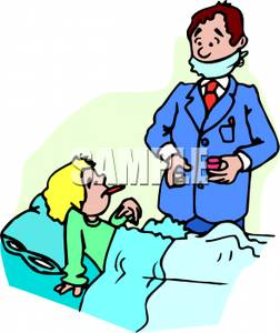 252x300 Doctor Coming To Give A Sick Patient Pills Clipart Picture