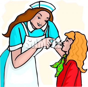 350x345 Picture Of A Nurse Checking A Patient's Temperature In A Vector