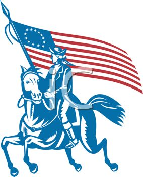 284x350 Patriotic Paul Revere Riding With The American Flag