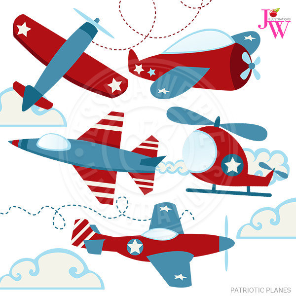 600x600 Patriotic Planes Cute Digital Clipart Airplane Clip Art