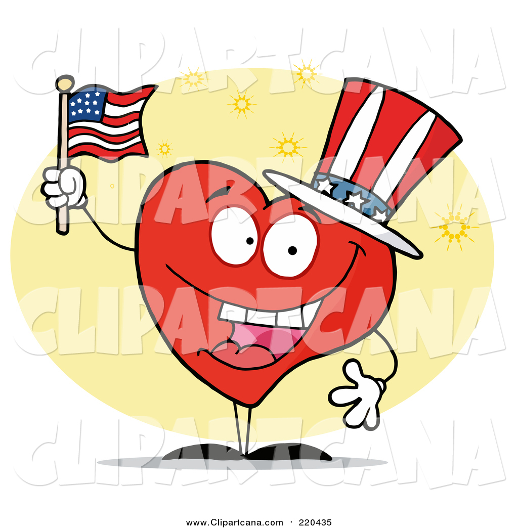 1024x1044 Clip Art Of A Patriotic American Heart Character By Hit Toon