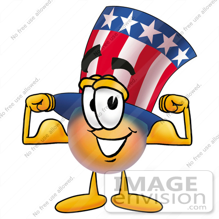 450x450 Clip Art Graphic Of A Patriotic Uncle Sam Character Flexing His