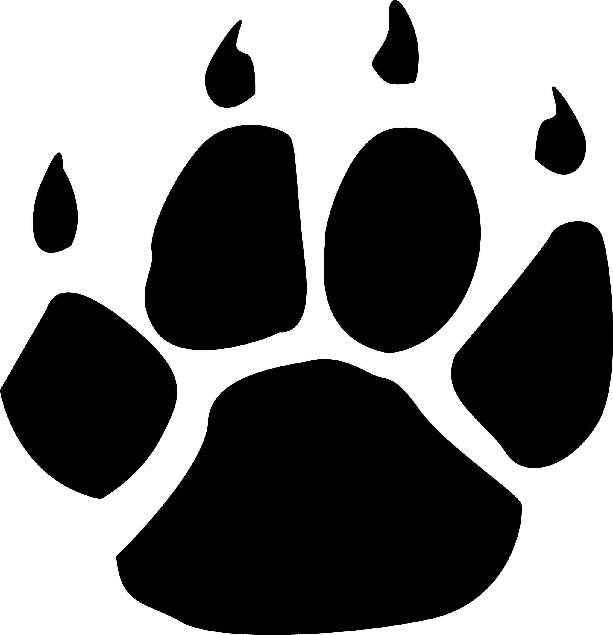 2048x2121 Wildcats Paw Print Clipart