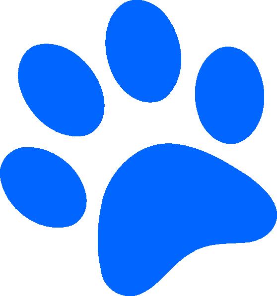 558x597 Blue Paw Print Clip Art