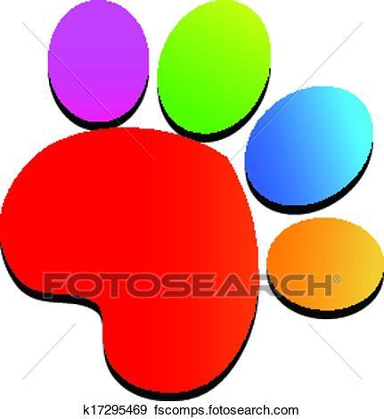 431x470 Clip Art Of Colorful Paw Print Logo K17295469