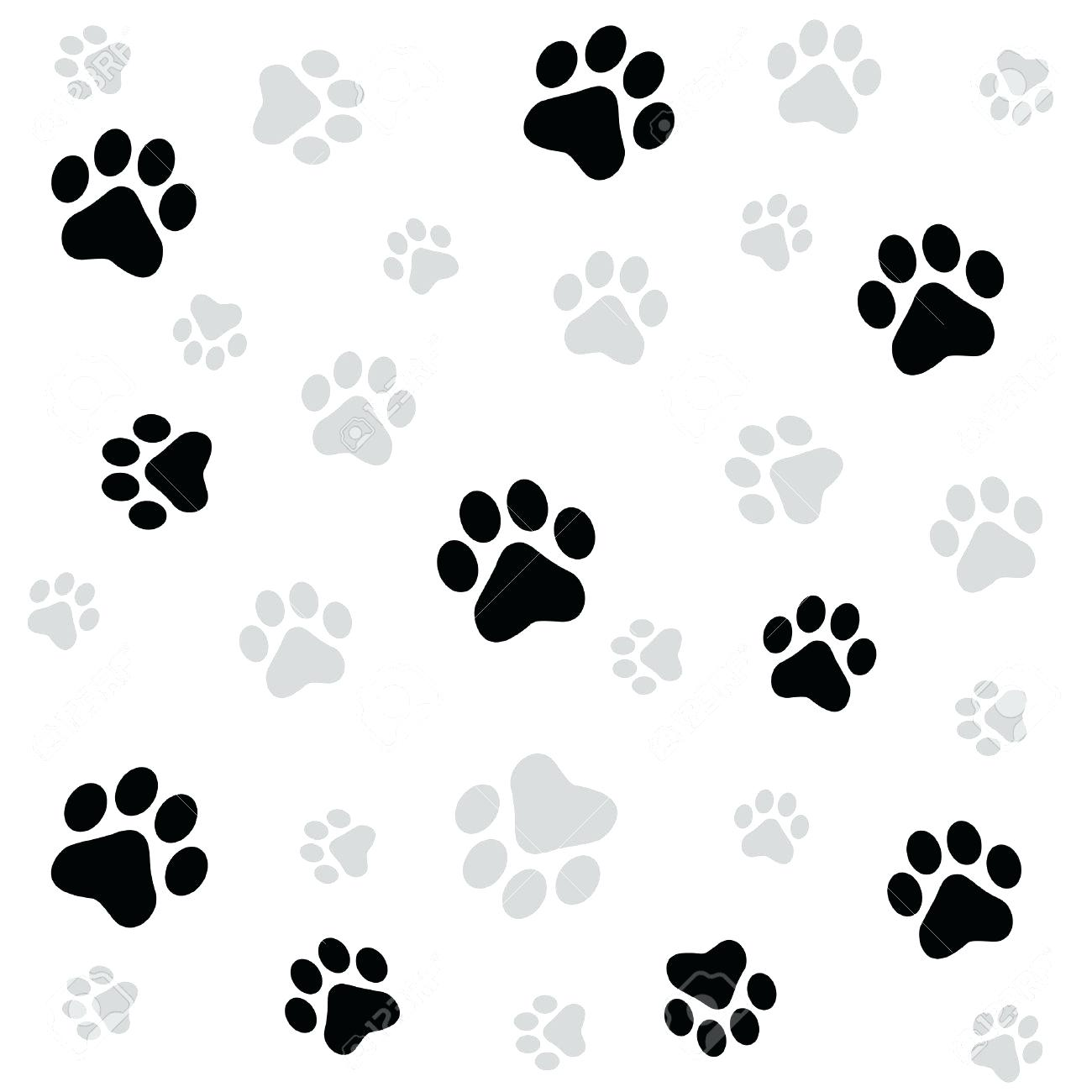 1300x1300 Footprint Outline Dog Paw Print Seamless Pattern On White