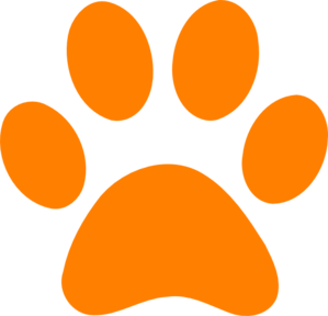 299x288 Orange Paw Print Clip Art