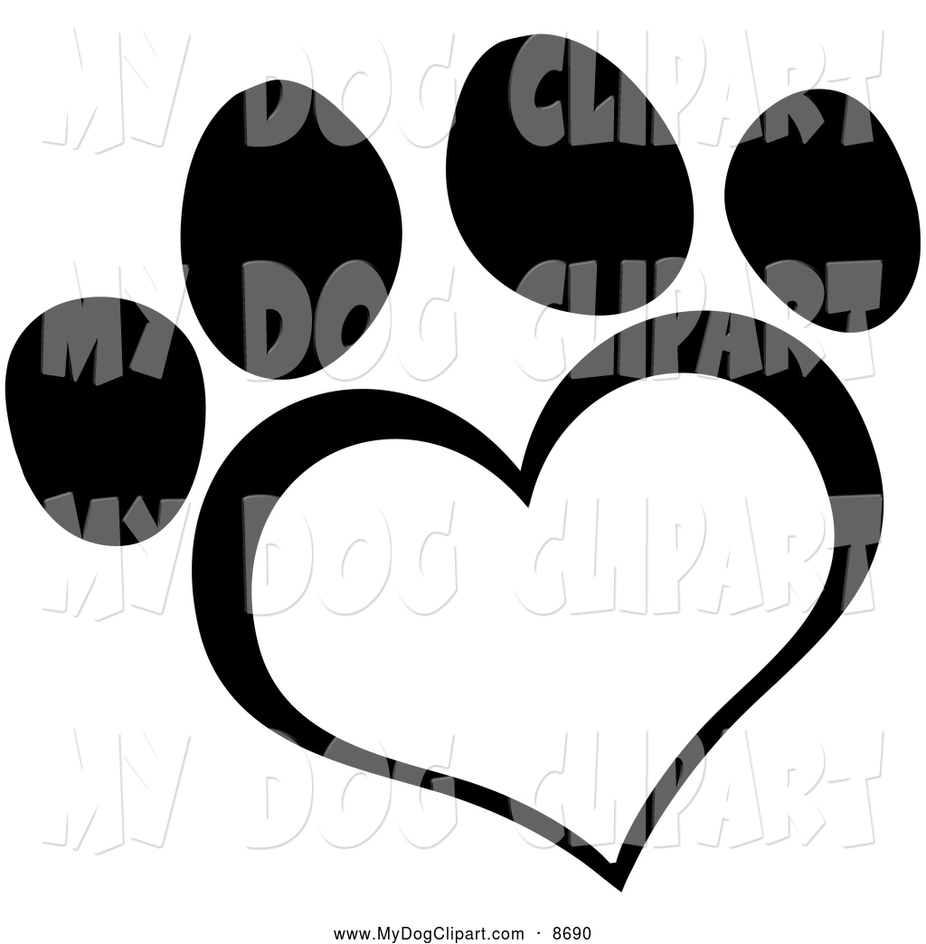 1024x1044 Clip Art Of A Black And White Heart Paw Print By Hit Toon