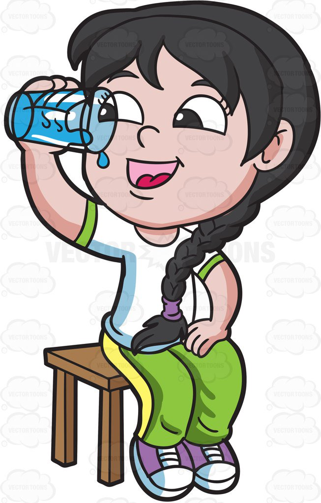653x1024 A Happy Girl Drinks Water After Her Pe Class Cartoon Clipart