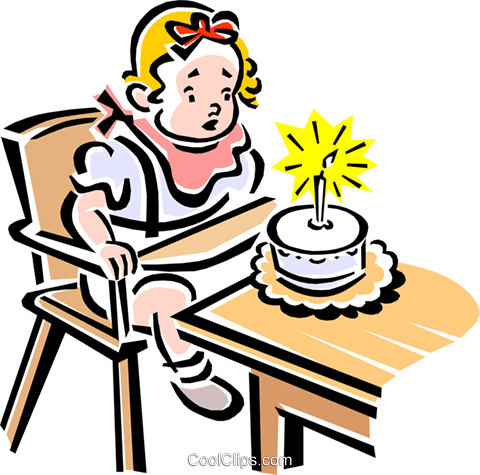 480x475 Child Blowing Out Candles On A Cake Royalty Free Vector Clip Art
