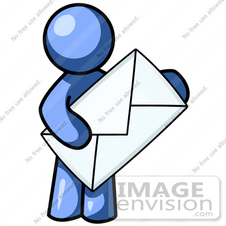 450x450 Clip Art Graphic Of A Blue Guy Character Holding An Envelope