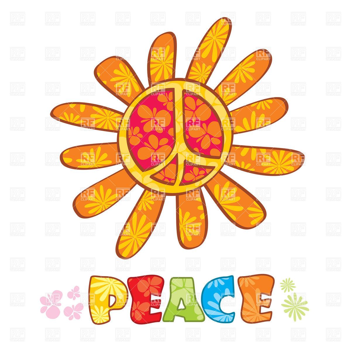 1193x1200 Hippie Peace Symbol With Petals Royalty Free Vector Clip Art Image