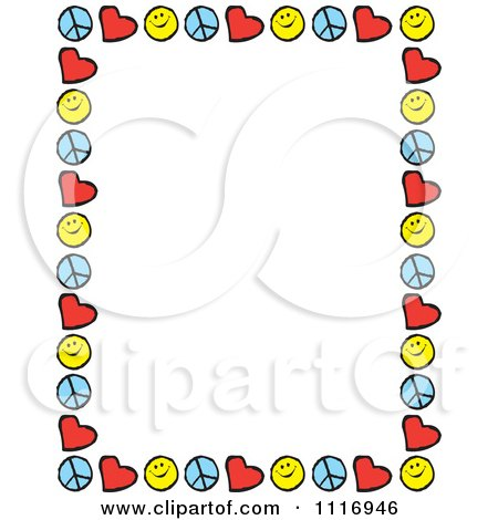 450x470 Cartoon Of Peace Love Happiness Border Frame With Copyspace