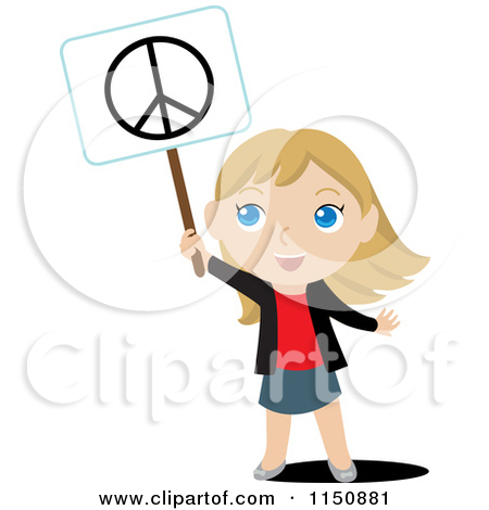 450x470 Girl With A Peace Sign Clipart