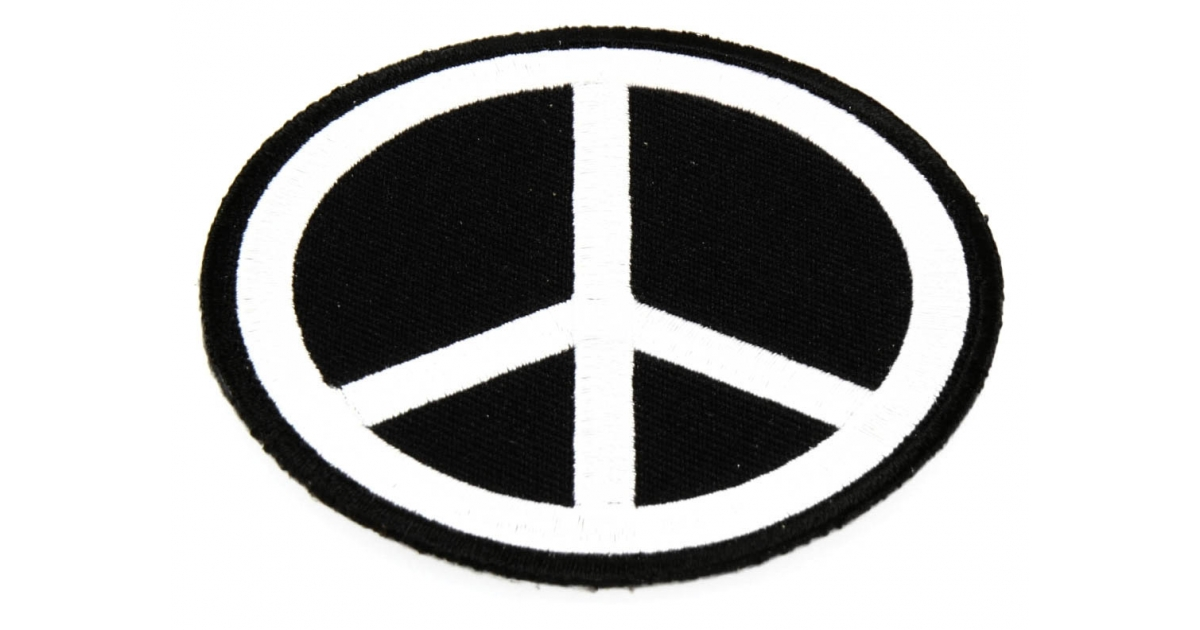 1200x630 Black White Peace Sign Patch Peace Patches Thecheapplace