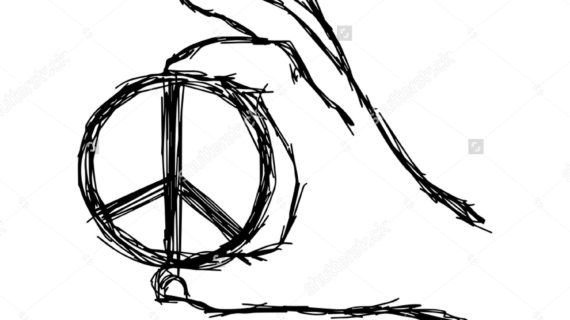 570x320 Peace Sign Hand Drawing Peace Sign Black And White Stock Photos