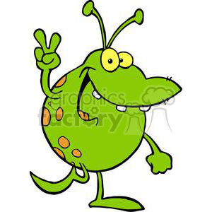 300x300 Royalty Free Happy Green Alien Gesturing A Peace Sign 378910