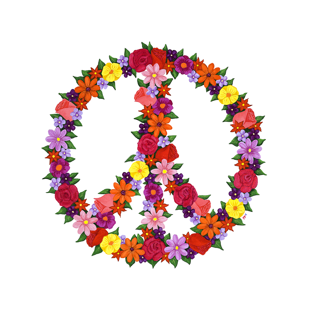 1200x1200 Peace Sign With Flowers Clipart