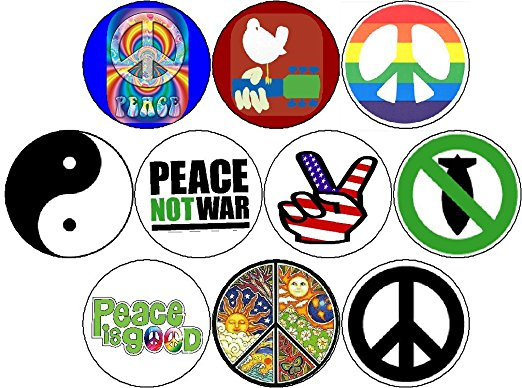 522x388 Set Of 10 Pinback Buttons Hippies 60s Woodstock Peace