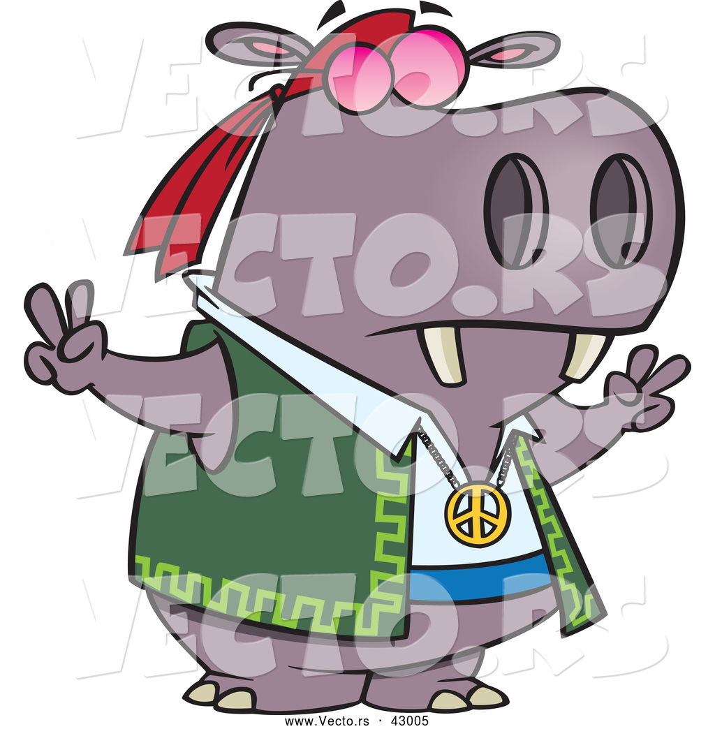 9f5d93e2b565 1024x1044 Vector Of A Hippie Cartoon Hippo Gesturing Peace Signs With His