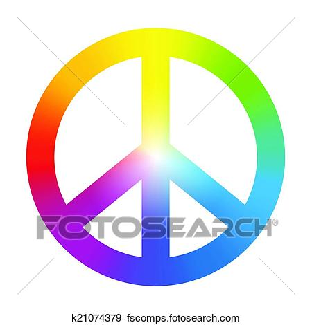 450x470 Clip Art Of Peace Symbol Rainbow Gradient K21074379
