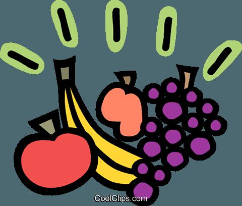 480x408 Grapes Apple Banana And Peach Royalty Free Vector Clip Art