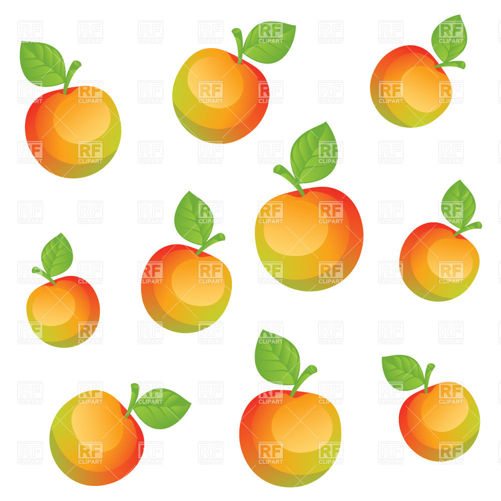 1000x1000 Ripe Peach And Apple Slices Royalty Free Vector Clip Art Image