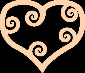 300x255 Curly Heart Peach Clip Art