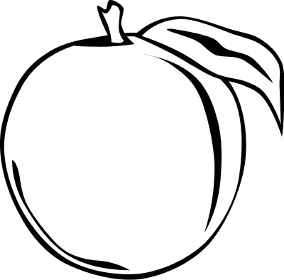 400x394 Peach Clipart Black And White