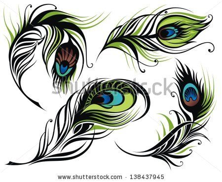 Peacock Feather Border Clipart