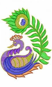 180x300 Kalamkari Peacock. Kalamkari Uses Vegetable Dyes And Neeeds